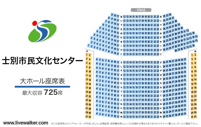 士別市民文化センター大ホールの座席表