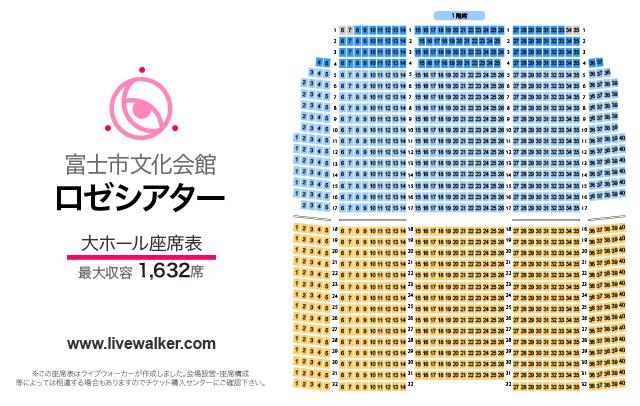 富士市文化会館ロゼシアター大ホールの座席表