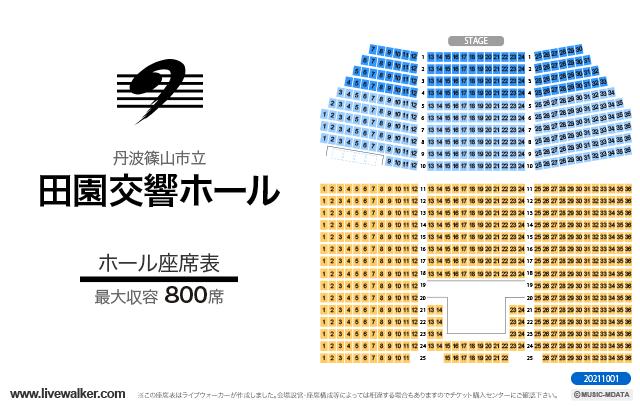 丹波篠山市立田園交響ホールホールの座席表