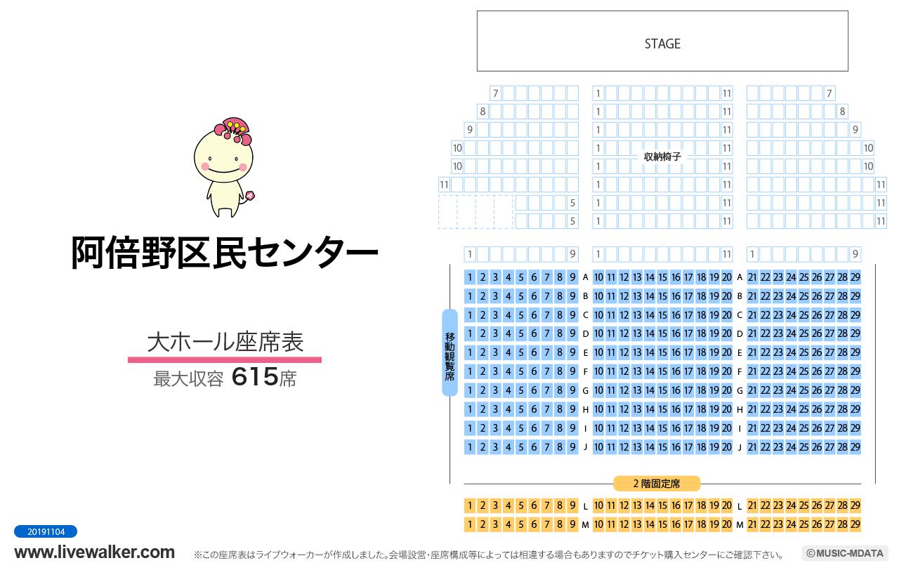 阿倍野区民センター大ホールの座席表