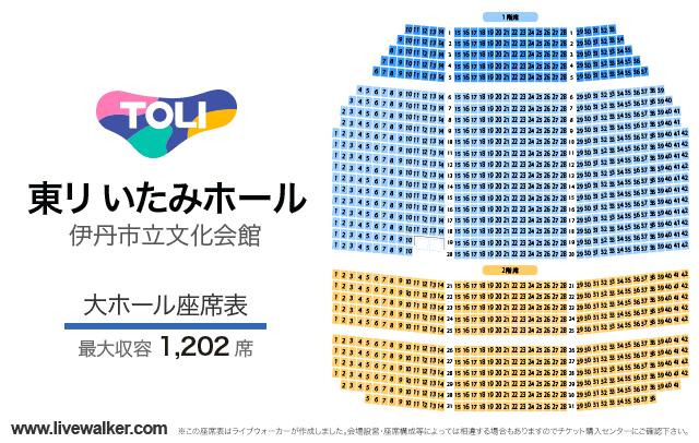 東リ いたみホール(伊丹市立文化会館)大ホールの座席表