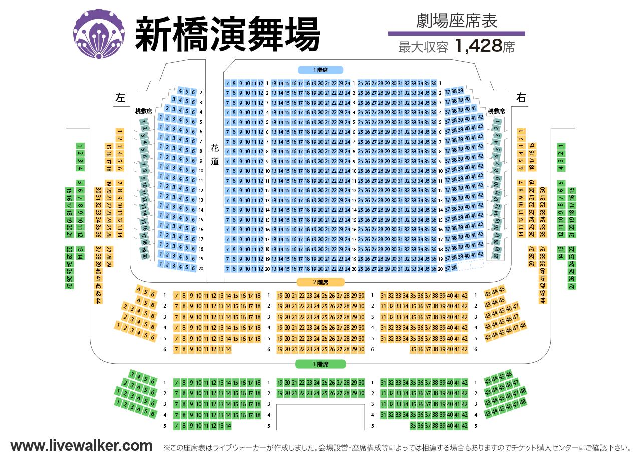 新橋演舞場劇場の座席表