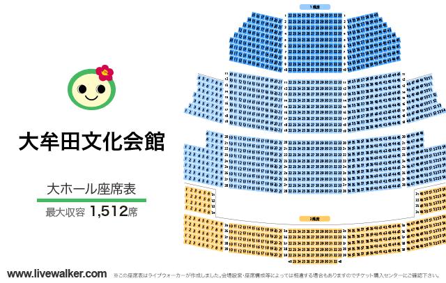 大牟田文化会館大ホールの座席表