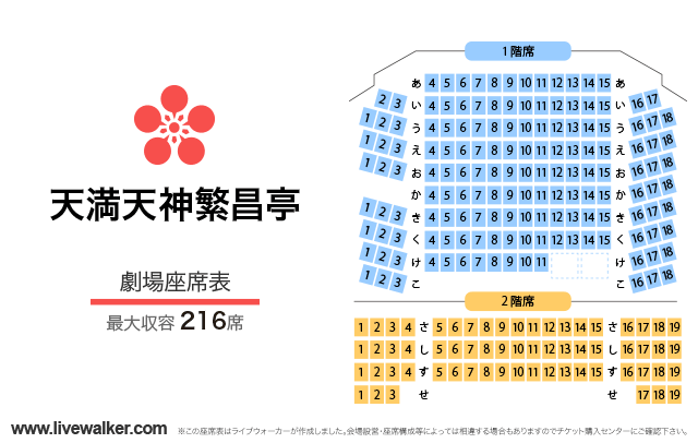 天満天神繁昌亭劇場の座席表
