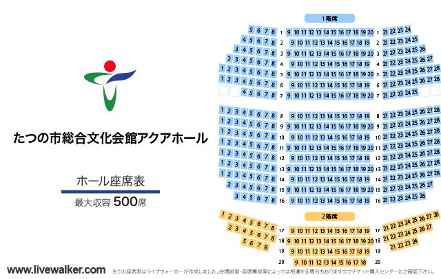 たつの市総合文化会館アクアホールホールの座席表