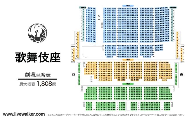 歌舞伎座劇場の座席表