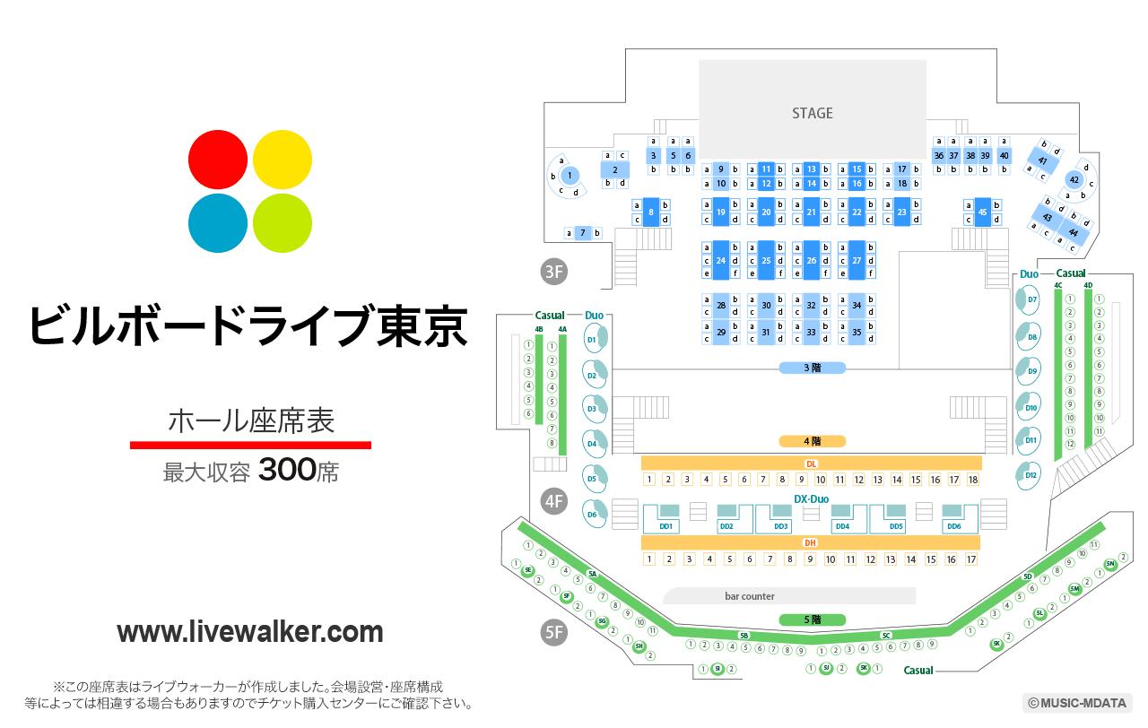 ビルボードライブ東京ホールの座席表