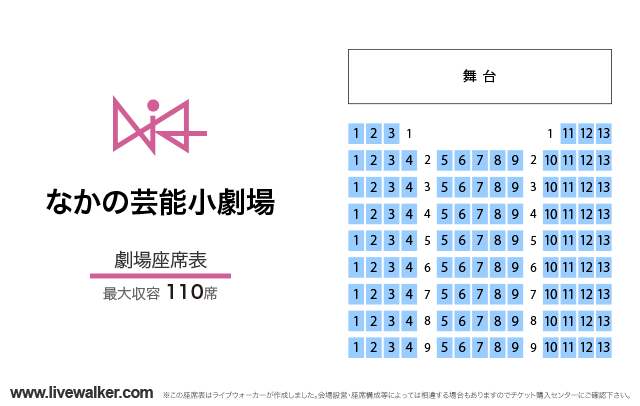 なかの芸能小劇場劇場の座席表