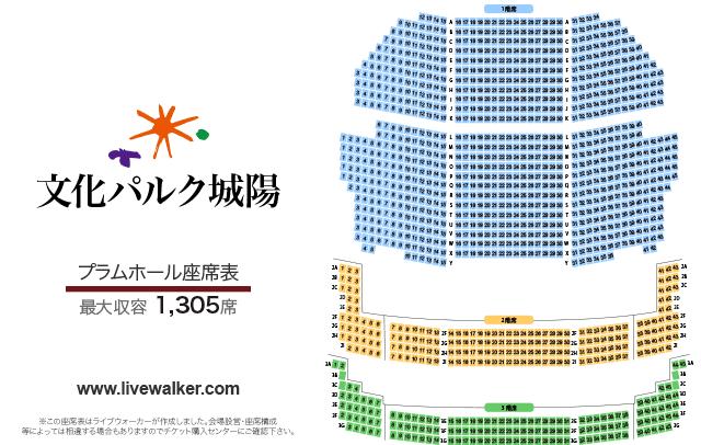 文化パルク城陽プラムホールの座席表