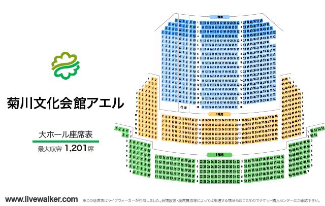 菊川文化会館アエル大ホールの座席表