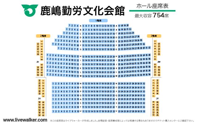 鹿嶋勤労文化会館ホールの座席表