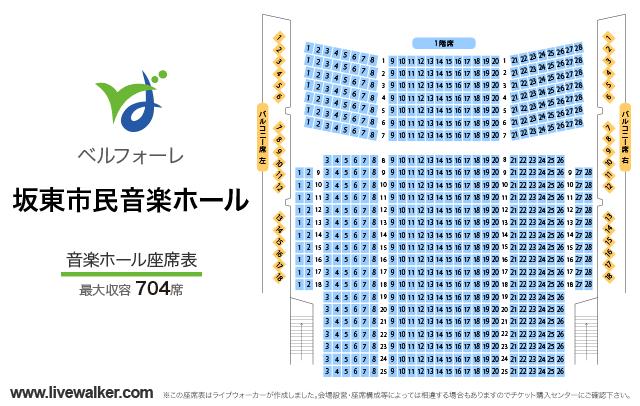 坂東市民音楽ホール ベルフォーレ音楽ホールの座席表