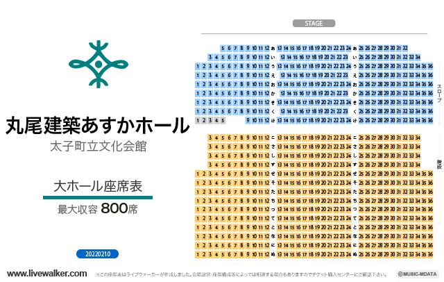太子町立文化会館あすかホール大ホールの座席表