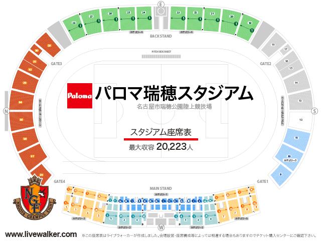 パロマ瑞穂スタジアムスタジアムの座席表