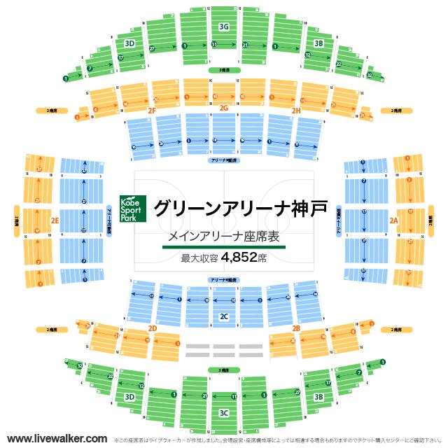グリーンアリーナ神戸メインアリーナの座席表