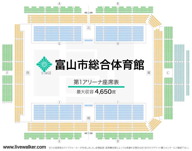 富山市総合体育館第1アリーナの座席表