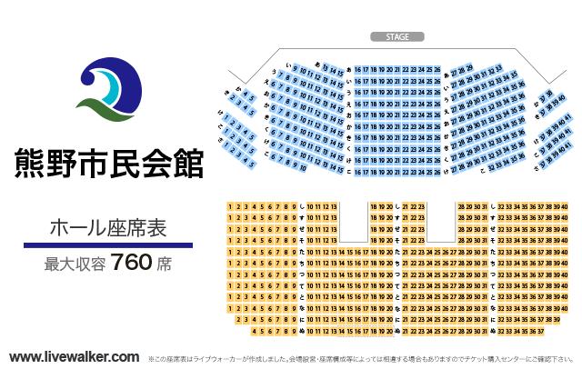 熊野市民会館ホールの座席表