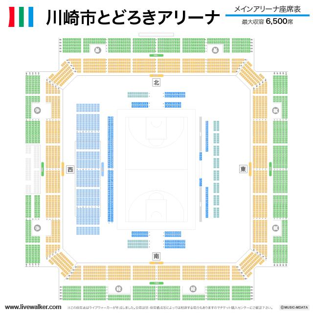 川崎市とどろきアリーナメインアリーナの座席表