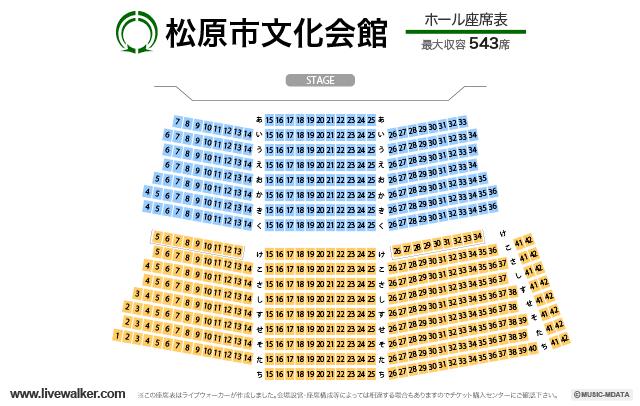 松原市文化会館ホールの座席表