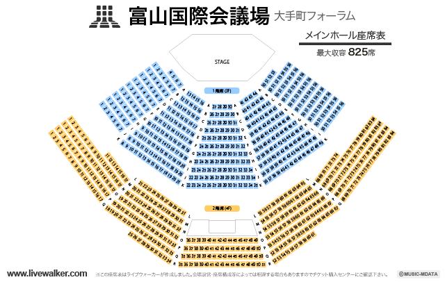 富山国際会議場(大手町フォーラム)メインホールの座席表