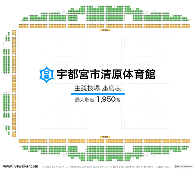 宇都宮市清原体育館主競技場の座席表