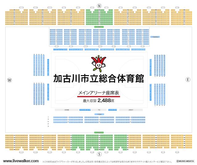 加古川市立総合体育館メインアリーナの座席表