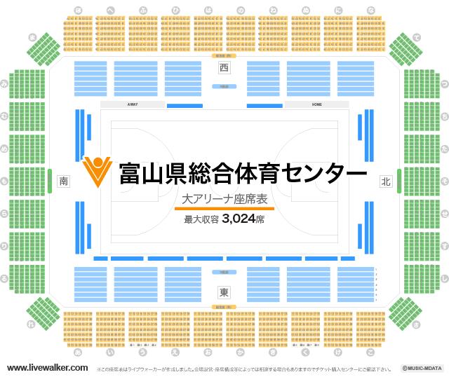 富山県総合体育センター大アリーナの座席表