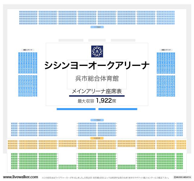 シシンヨーオークアリーナ(呉市総合体育館)メインアリーナの座席表