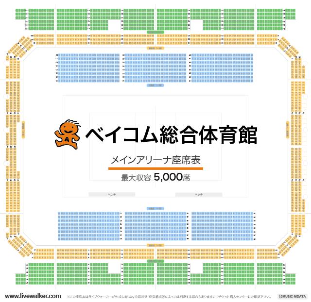 ベイコム総合体育館メインアリーナの座席表