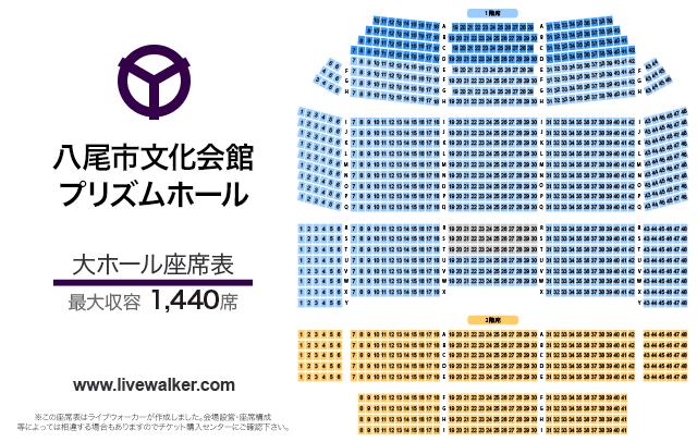 八尾市文化会館プリズムホール大ホールの座席表