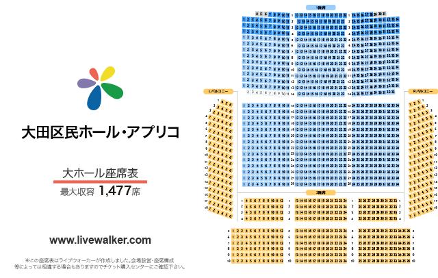 大田区民ホール・アプリコ大ホールの座席表