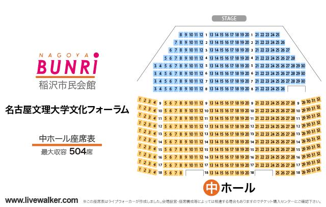 名古屋文理大学文化フォーラム(稲沢市民会館)中ホールの座席表